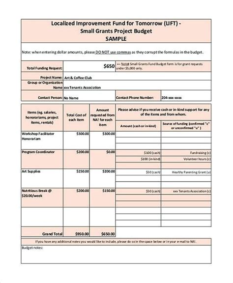 english budget template small grant budget template grant budget template