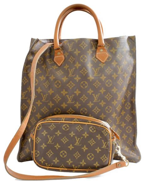 louis vuitton sac plat monogram tote bag removable pouch french company   sale  stdibs