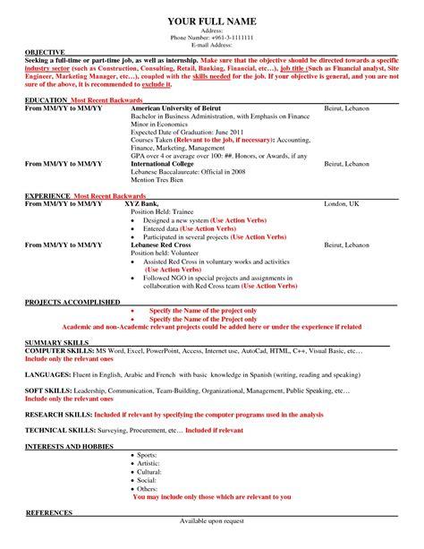 Usa Resume by American Resumes American Resume Sles American Resume