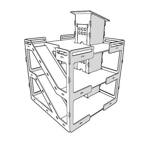 large wooden garage model parking ramp vector model