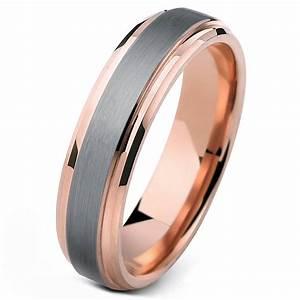 Tungsten Ring Rose Gold Wedding Band Ring Brushed Tungsten 6mm