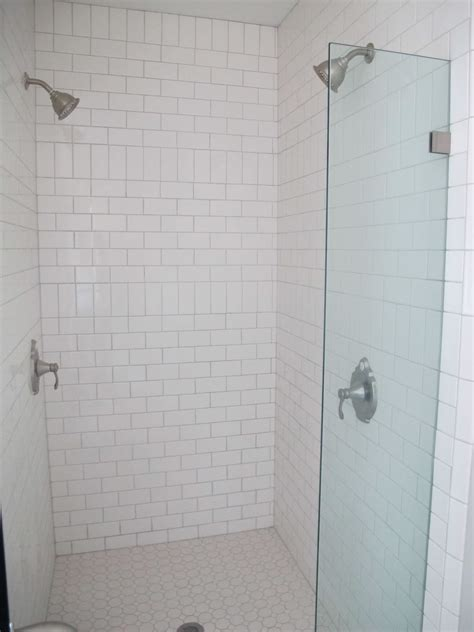 white subway tile bathroom white subway tile  shower