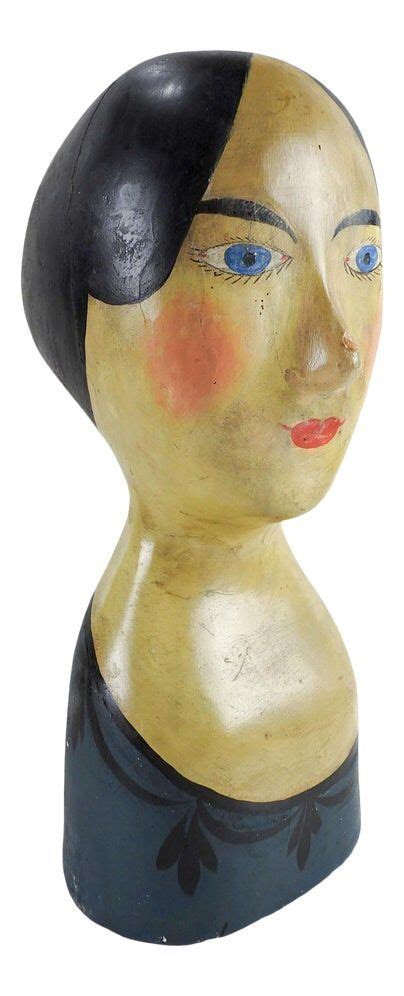 antique french milliners paper mache head   paper