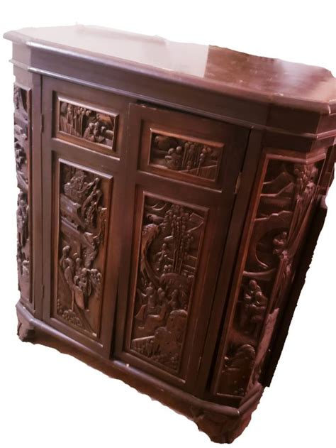 chinese carved wooden bar liquor cabinet vintage carved wood asian liquor cabinetbar