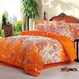 bright orange and white novelty unique western paisley park print 100 cotton full size bedding