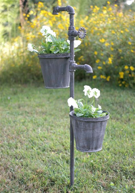 Faucet Metal Garden Stake With Two Planters Outdoor