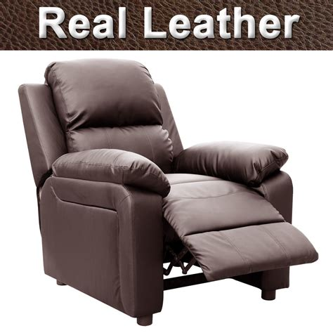 Real Leather Recliner Chairs by Ultimo Brown Real Leather Recliner Armchair Sofa Chair