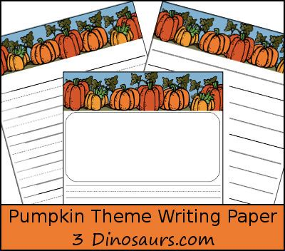 dinosaurs pumpkin themed writing papers