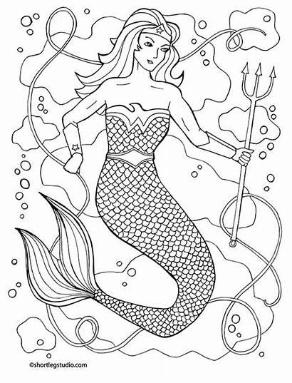 Coloring Woman Wonder Mermaid Sheet June Mash