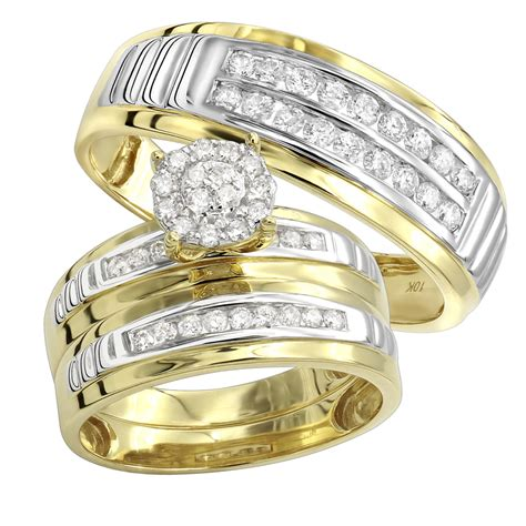 10k gold cheap engagement ring and wedding bands 0 8ct