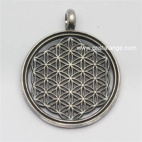 flower of life pendant black silver spiritual jewelry