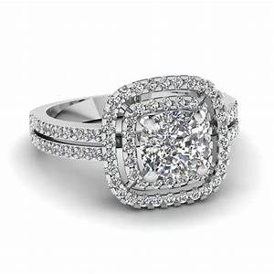 Princess cut diamond double halo engagement ring in 14k for Dimond wedding ring