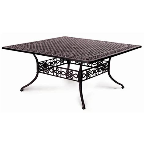 meadow decor 65 inch large square cast aluminum dining table
