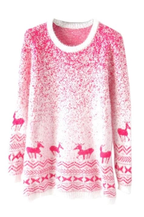 pink mohair reindeer pullover gradient ugly christmas