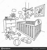 Coloring Baby Room Hand Vector Illustration Drawn Drawing Crib Element Template Pages Sketch Depositphotos sketch template