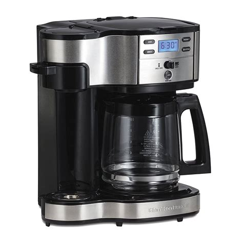 For a single cup, the brewer lets you add ground coffee directly into the mesh filter or you can insert your favorite pod. Hamilton Beach Single Serve Coffee Brewer And Full Pot ...
