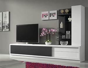 Ensemble Meuble Tv Conforama : ensemble meuble tv blanc et noir design armand ~ Dailycaller-alerts.com Idées de Décoration