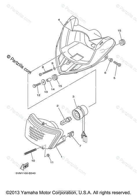 Yamaha Atv Oem Parts Diagram For Headlight