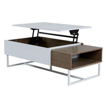 table basse avec plateau relevable table basse rectangulaire en bois avec plateau relevable blanc ch 234 ne forest achat prix fnac