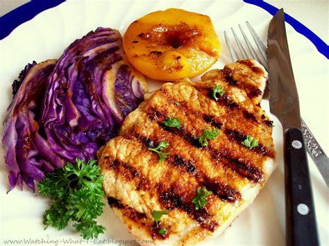 pork chop grill time watching what i eat grilled pork chops peaches cabbage loving my george foreman grill