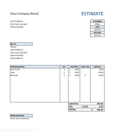 Free Estimate Template Free Estimate Template For Contractors