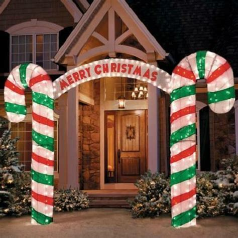 lighted merry christmas candy cane archway