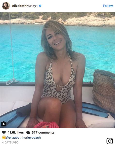 hot elizabeth hurley shares  incredible bikini