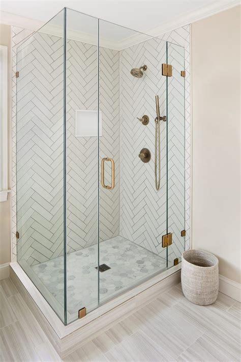 Chevron Bathroom Ideas by Glass Shower Door With Chevron Tile Design Elizabeth