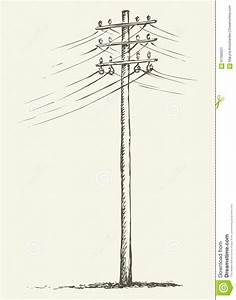Old Wooden Power Pole Stock Vector