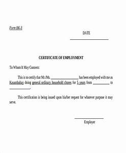 12 certificate letter templates pdf doc free With certification of employment letter template