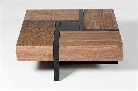 modrest makai modern walnut black square coffee table