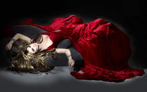 woman  long red dress widescreen wallpaper wide