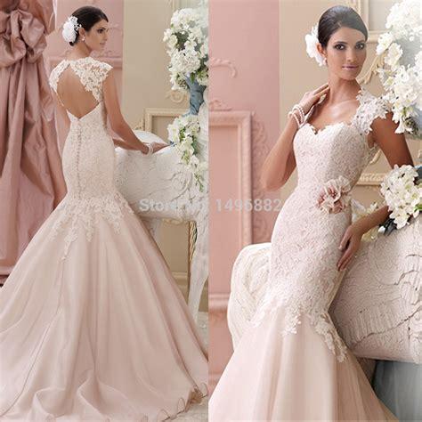 6585 pink lace wedding dress custom made 2015 new blush pink wedding dresses lace 6585