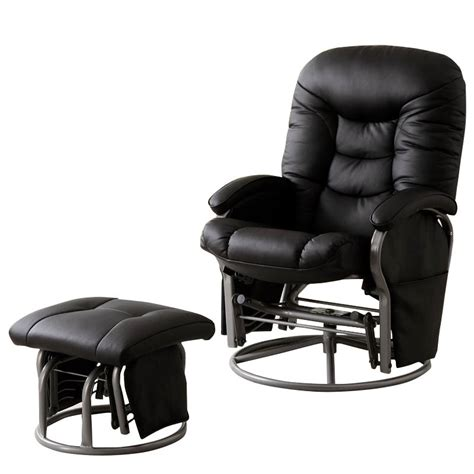 faux leather glider recliner with ottoman coaster faux leather recliners with ottomans in black 600227
