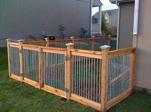 cedar and metal fence outdoor living pinterest metal With small dog fences for outside