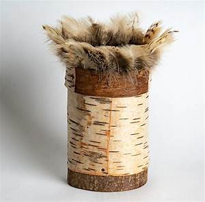 Birch, Bark, Pot, With, Kestrel, Feather, Rim