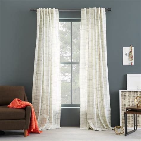 west elm drapes cotton canvas printed curtain etched grid contemporary