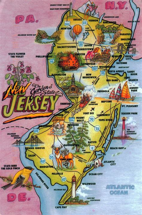detailed tourist illustrated map   jersey state