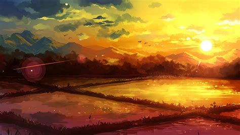 sunset paintings mountains landscapes fields fantasy art