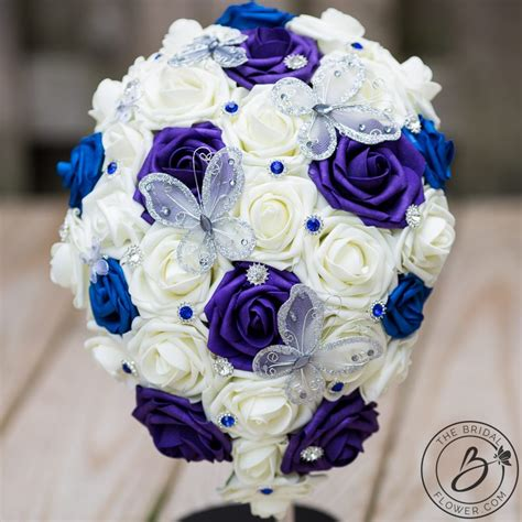 Blue And Purple Cascading Bouquet With Butterflies The