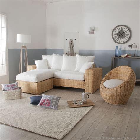 enseigne canapé canapé d 39 angle et fauteuil oeuf en rotin et tissu blanc