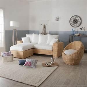 canape d39angle et fauteuil oeuf en rotin et tissu blanc With tapis ethnique avec tissu pour fauteuils canapés