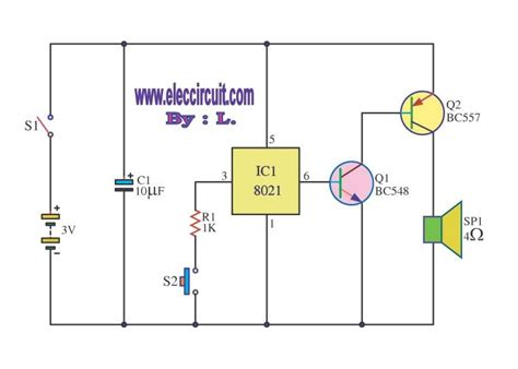 Electronic Bell Circuit Diagram by Sound Bell Circuit With Ic 8021 Electronics