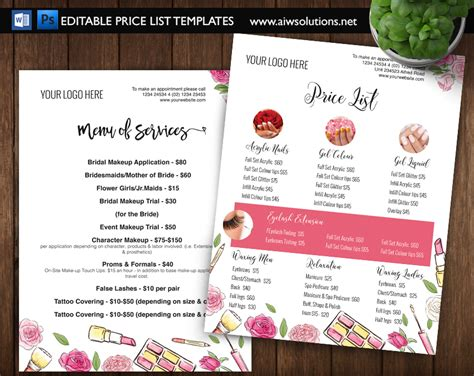 Price List Brochure Template by Pricing List Template Price List Template Menu Template