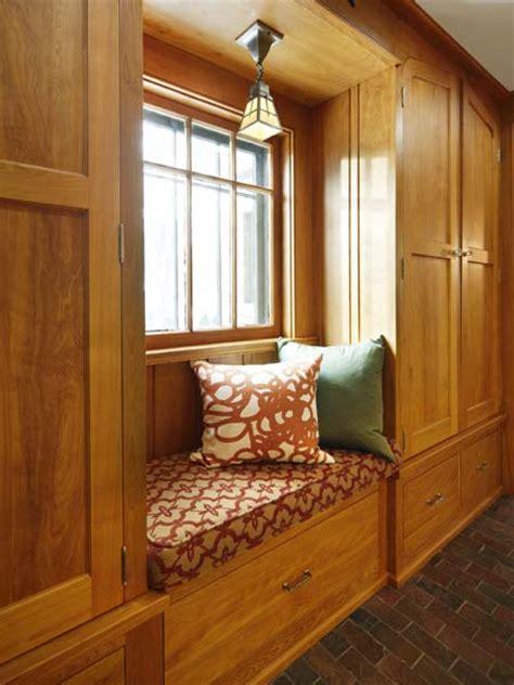 cozy mudroom window seat  vintage