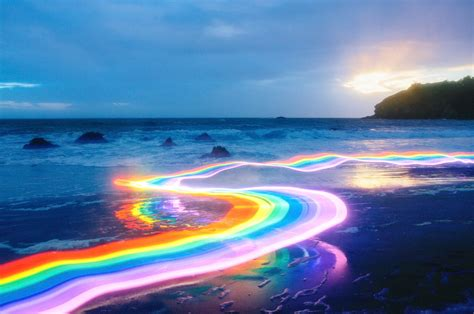 Vivid Rainbow Roads Trace Illuminated Pathways Across