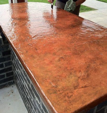 kitchen concrete counter copper  alike
