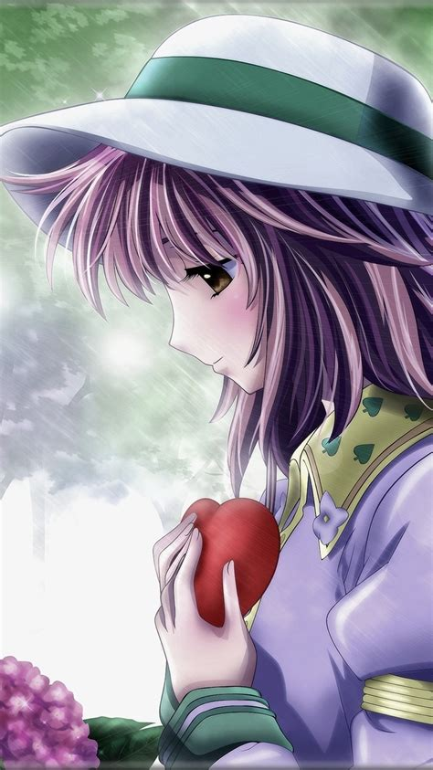 tristeza chica anime pelo morado sombrero la lluvia