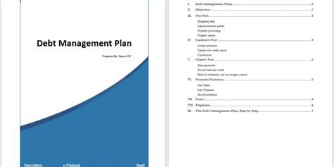 debt management plan template word templates