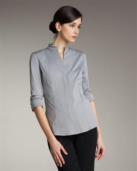mandarin collar blouse akris mandarin collar poplin blouse felt gray in gray lyst